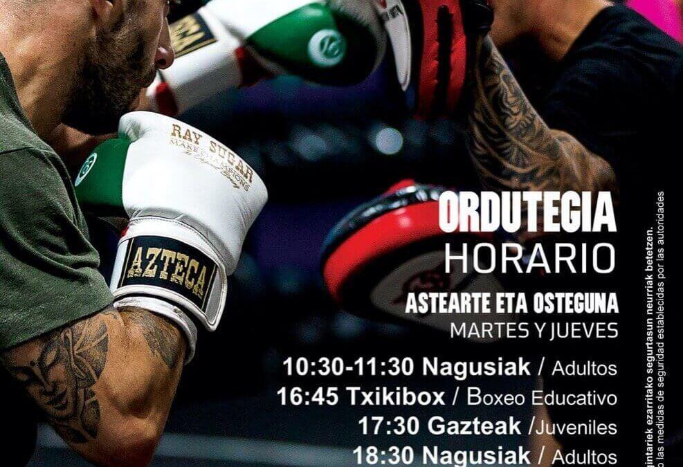 Kick Boxing K1. Horario. Ordutegia.